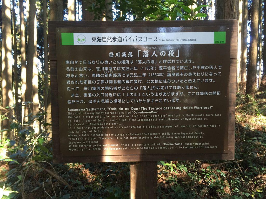 石谷山ハイキングコース 平家 落人の段