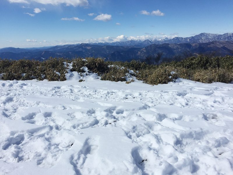 青笹山 ハイキングコース山頂は雪だらけ